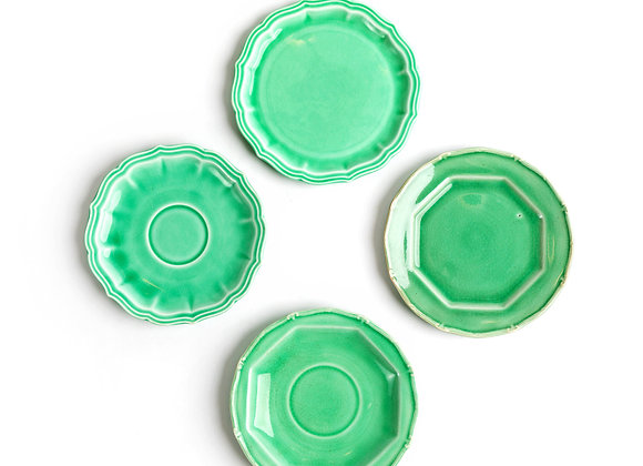 Assorted Jade Green Dessert/Candle Plates