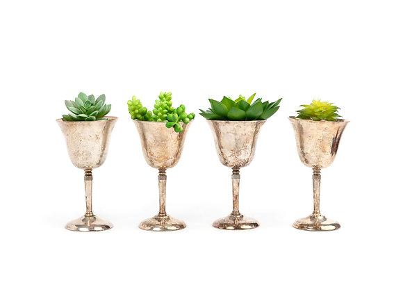 Silver Plate Goblet & Faux Succulent