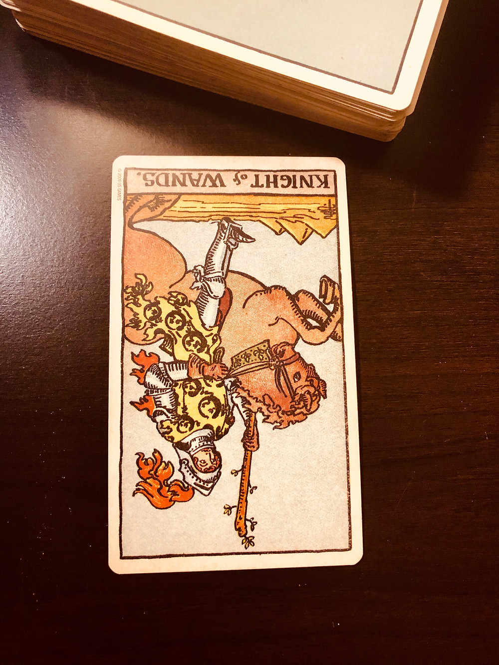 Knight of Wands, reversed. Rider/Smith/Waite Deck