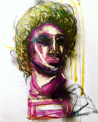 """oil pastels & spray paint on paper 24""""x18"""""""