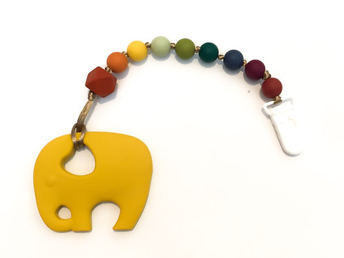 Earth Rainbow elefánt 2 in 1 cumi- és rágcsalánc