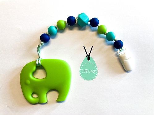 Elefánt 2 in 1 cumi- és rágcsalánc - Lime