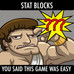Strategy Sesh #2-- Stat Blocks