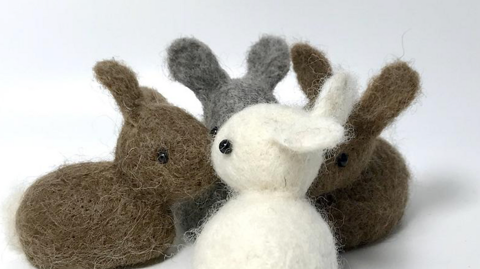 Bunnie needle felting kit  -  makes 2 rabbits - great for beginners
