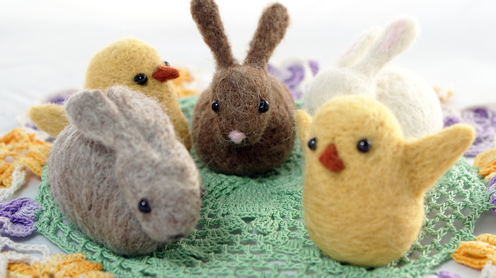 Bunny and Chick needle felt kit  -  FREE UK POSTAGE