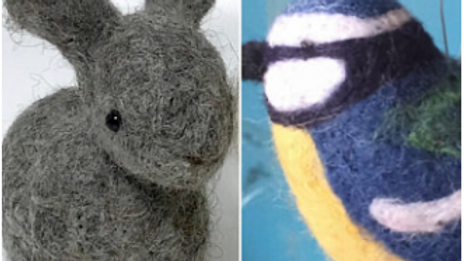 Bunnies and birds needle felt kits - 2 kits special offer - the great outdoors