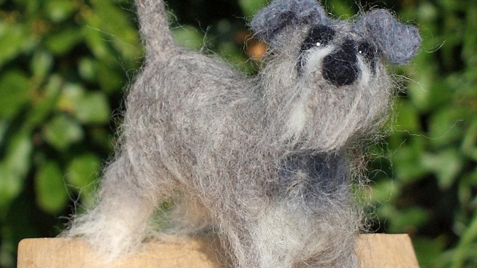 Schnauzer dog needle felt kit -  oh so very challenging kits