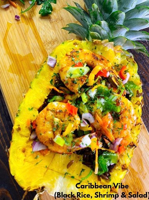 Caribbean Vibe (Black Rice, Shrimp and Salad)