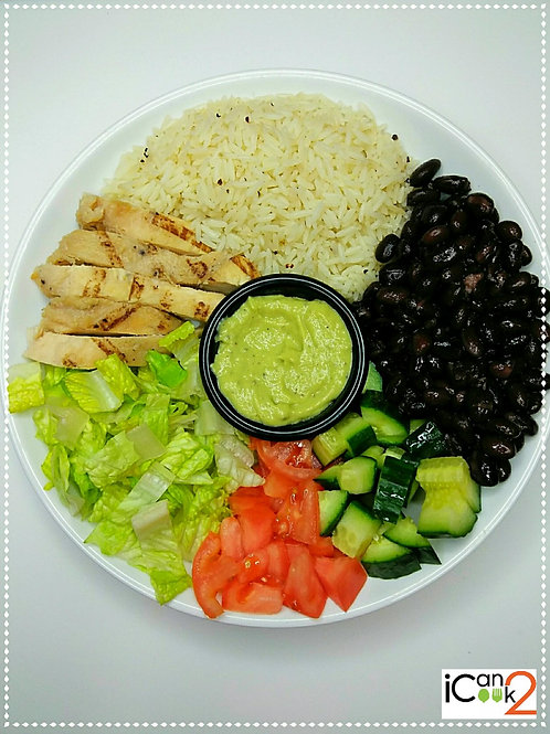 The bowl of chicken avocado salad:  Avocado  Black beans  Brown rice  Cucumber  Grille chicken  Roman salad  Tomato