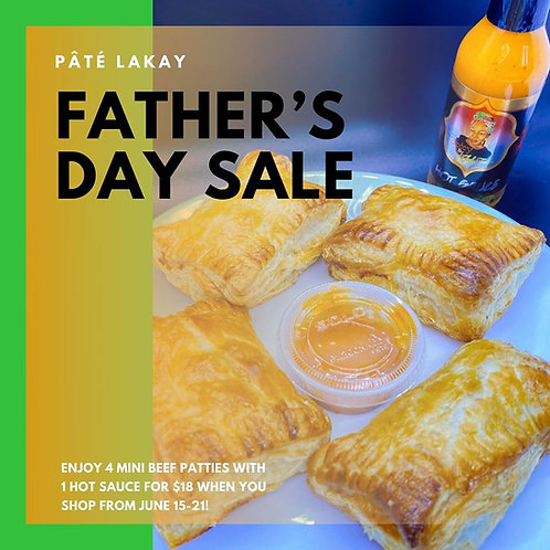 4x Mini Beef Pate Lakay (Haitian Patties) with 1x Bottle of Hot Sauce for $18