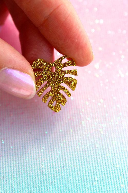 Gold Monstera Pentant