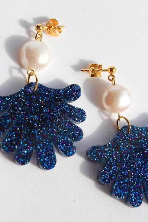 Blue Glitter Pearls