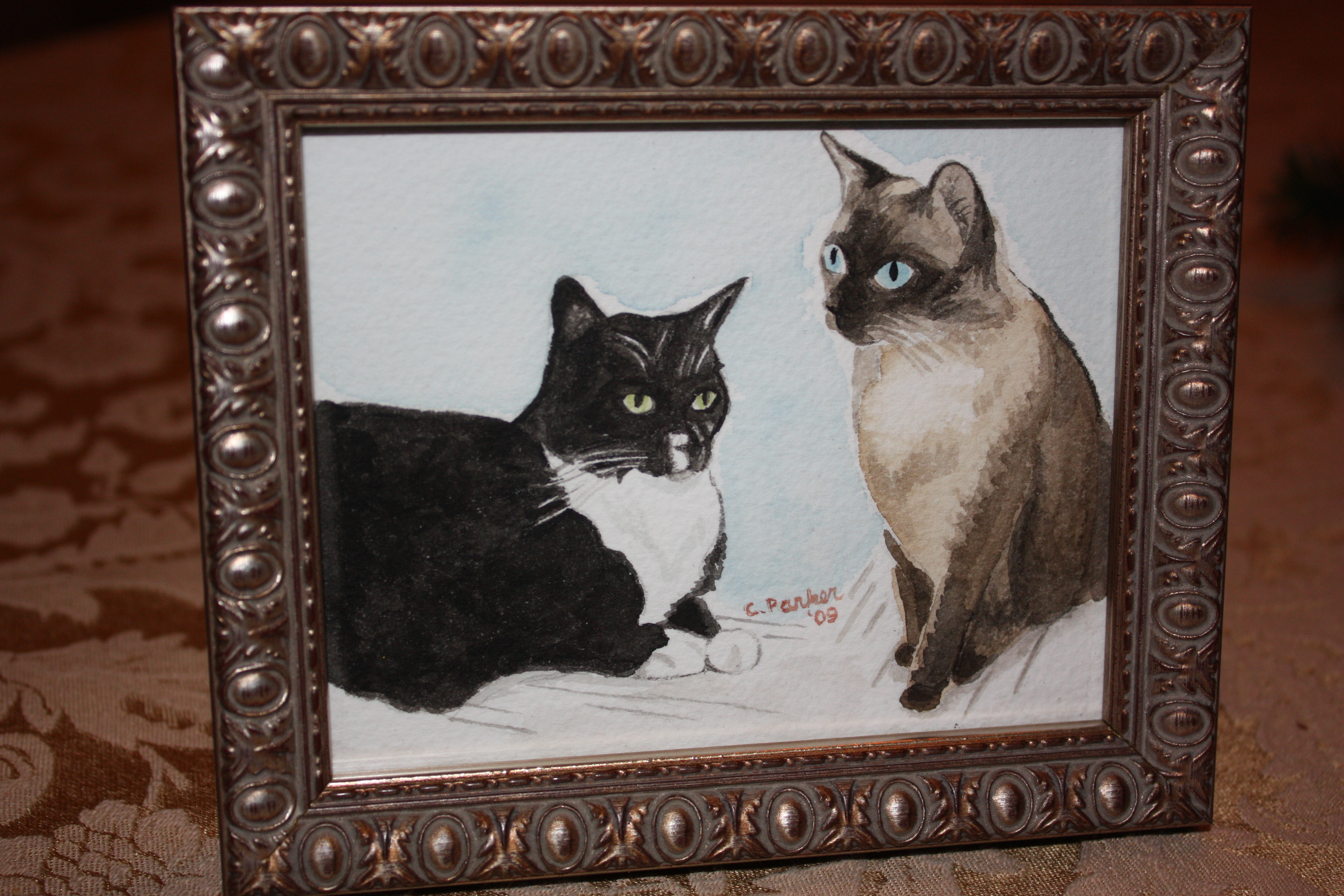 B.J. & Tux - Cat Watercolor