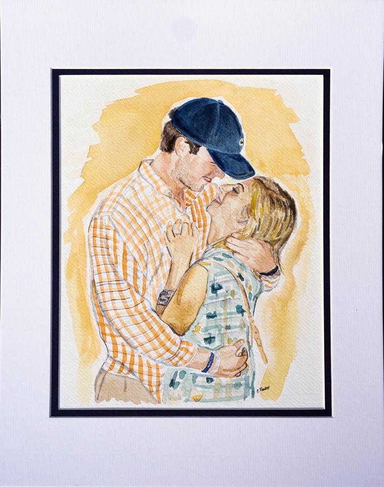 8x10 watercolor Tyler/Cori