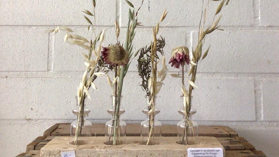 Gedroogde bloemen setje van vier