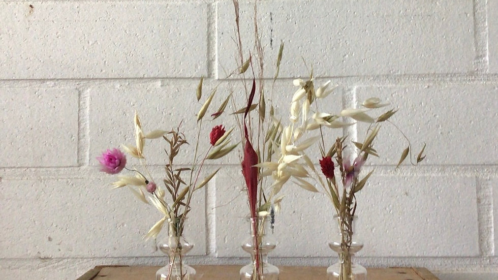 Gedroogde bloemen setje van drie
