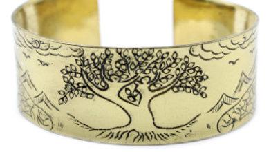 Tibetan Brass Tree of Life Bangle