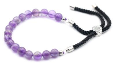 Amethyst - 925 Silver Plated Gemstone Black String Bracelet