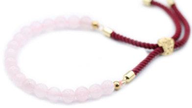 Rose Quartz - 18K Gold Plated Gemstone Bordeaux String Bracelet