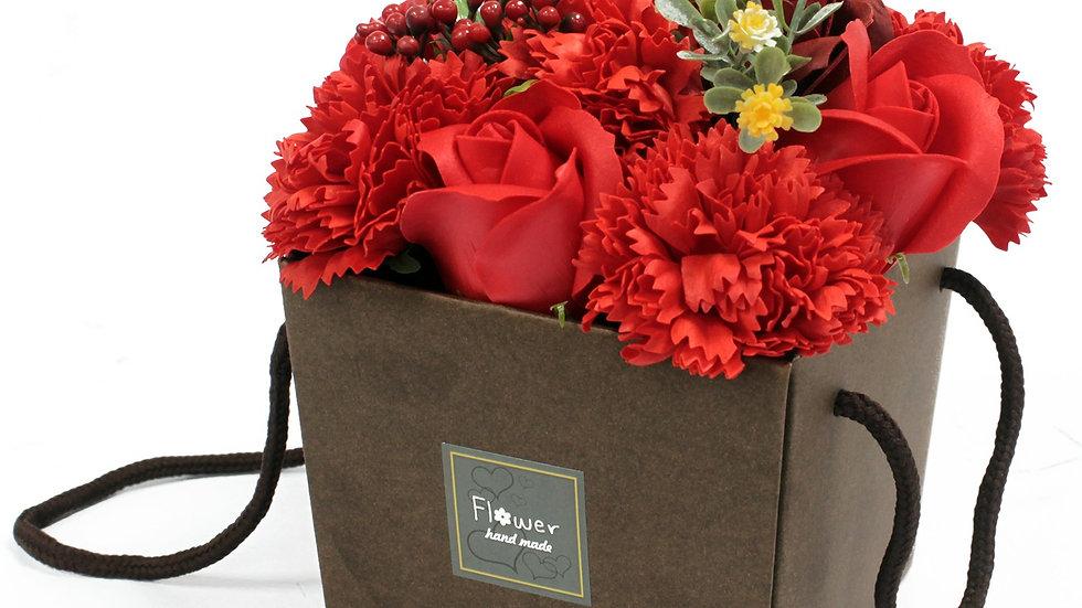 Soap Flower Bouqet - Red Rose & Carnation