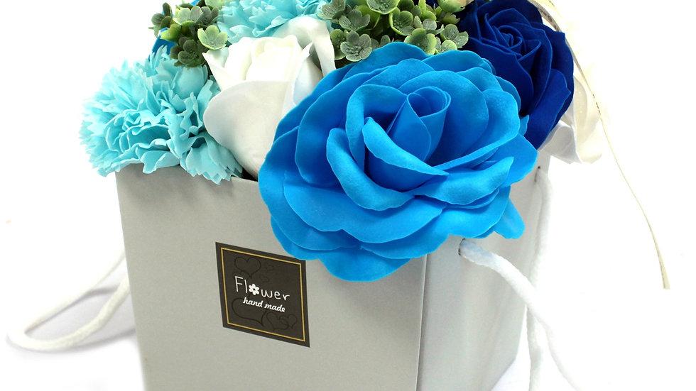 Soap Flower Bouqet - Blue Rose & Carnation