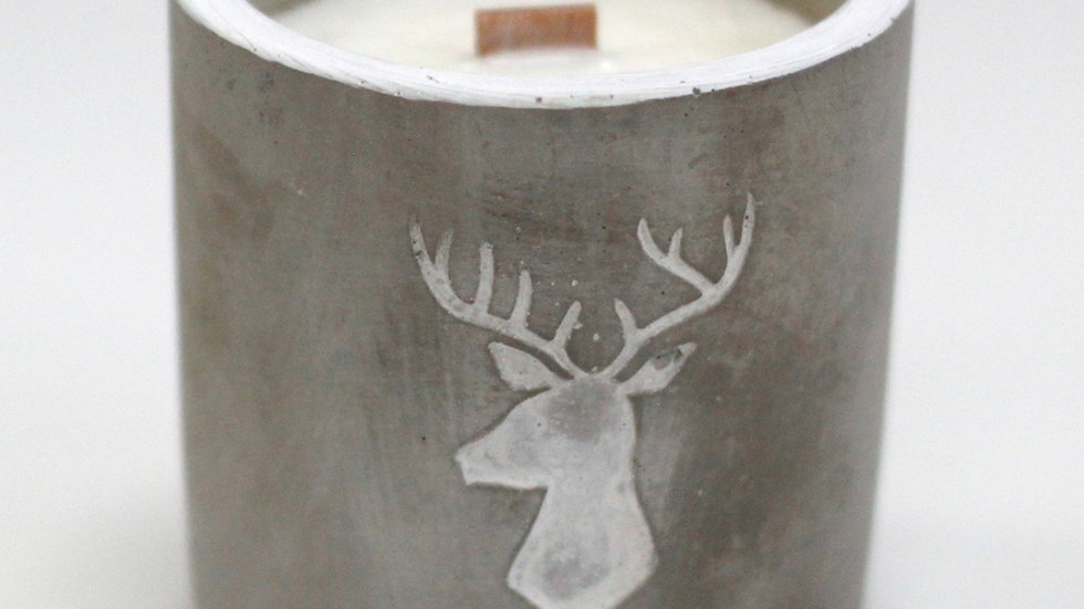 Concrete & Wood Wick Candle - Stag Head - Whiskey & Woodsmoke