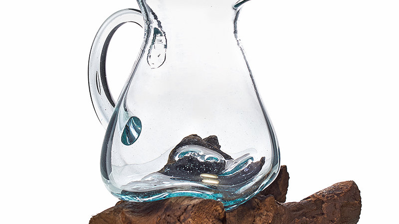 Molten Glass Water Jug on Wooden Stand