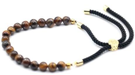 Tiger Eye - 18K Gold Plated Gemstone Black String Bracelet