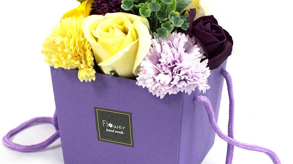 Soap Flower Bouqet - Purple Rose & Carnation