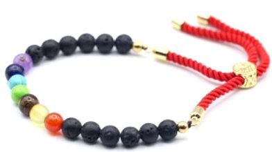 Lava Stone Chakra - 18K Gold Plated Gemstone Royal String Bracelet