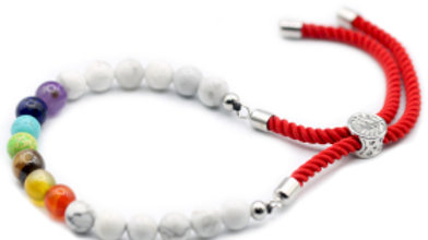 White Howlite Chakra - 925 Silver Plated Gemstone Royal Red String Bracelet