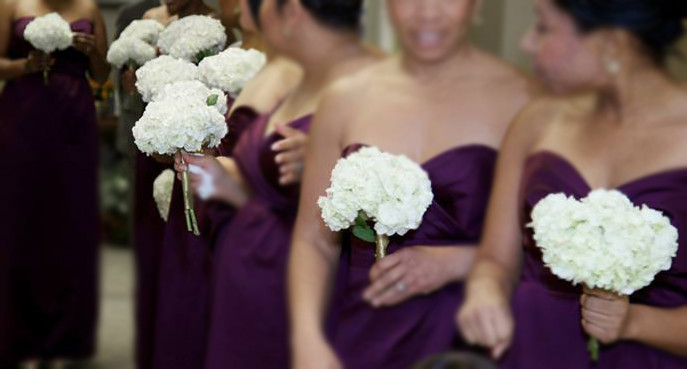 Two stem hydrangea bridesmaid bouquet