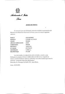 Vendita Autovettura Ambasciata D'Italia a Lima