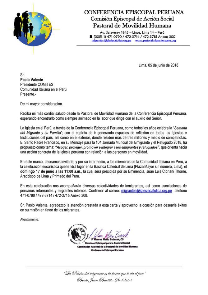 Carta invitación Misa Día del Migrante COMITES