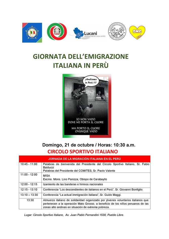 """Los invitamos a """"la jornada de la migración italiana en el Perú""""."""