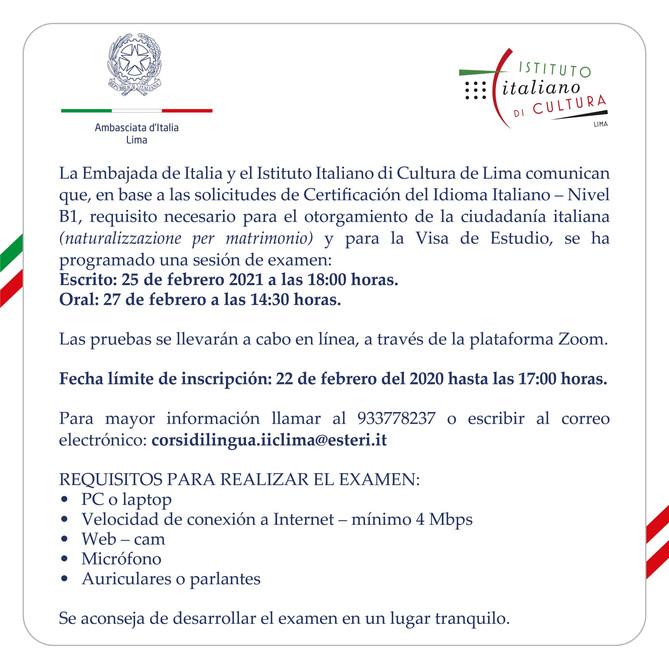 COMUNICATO AMBASCIATA D'ITALIA A LIMA - ISTITUTO ITALIANO DI CULTURA DI LIMA.