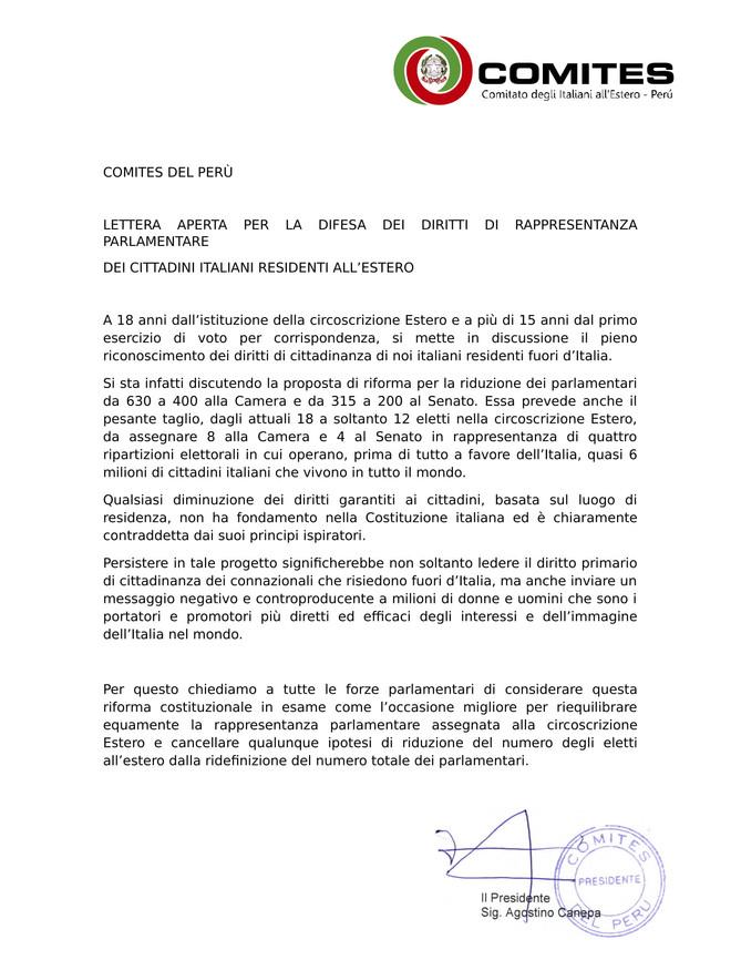 Lettera Aperta in difesa della rappresentanza parlamentare all'estero