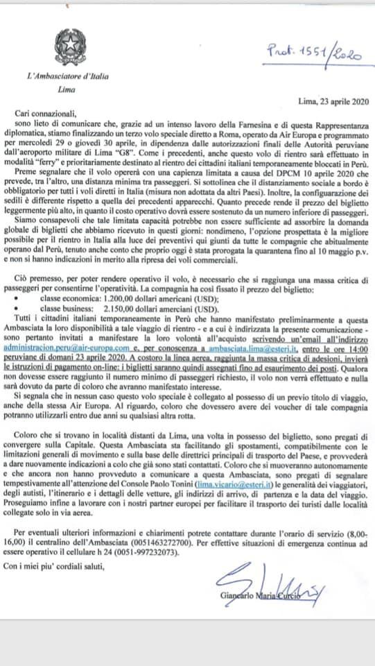LETTERA S.E. DOTT. GIANCARLO MARIA CURCIO, AMBASCIATORE D'ITALIA IN PERÙ