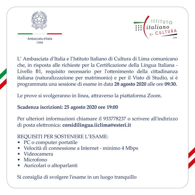 Esame - Certificazione di Lingua Italiana - Livello B1
