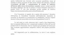 Lettera di S.E. dott. Giancarlo Maria Curco, Ambasciatore d'Italia in Perù