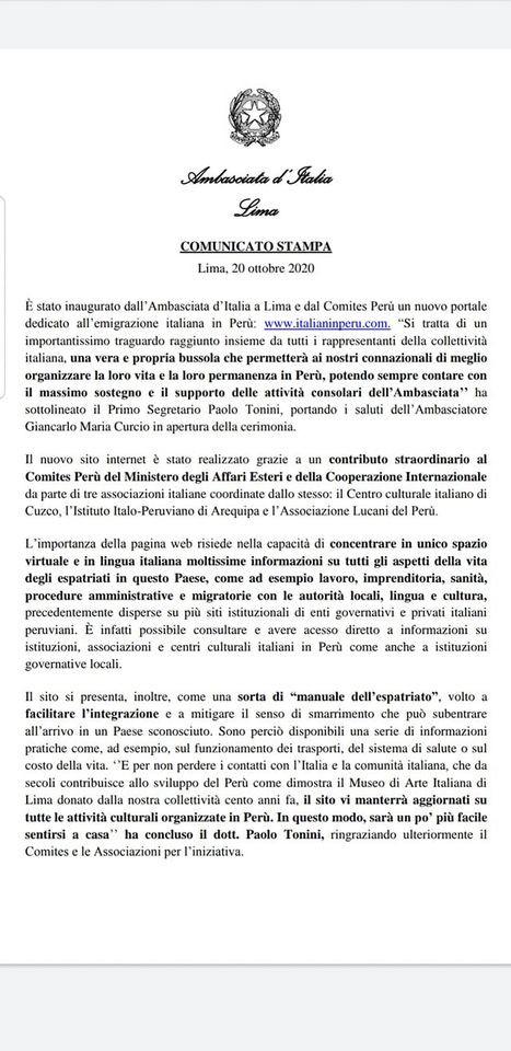 Comunicato Ambasciata d'Italia a Lima - Portale emigrazione italiana in Perù