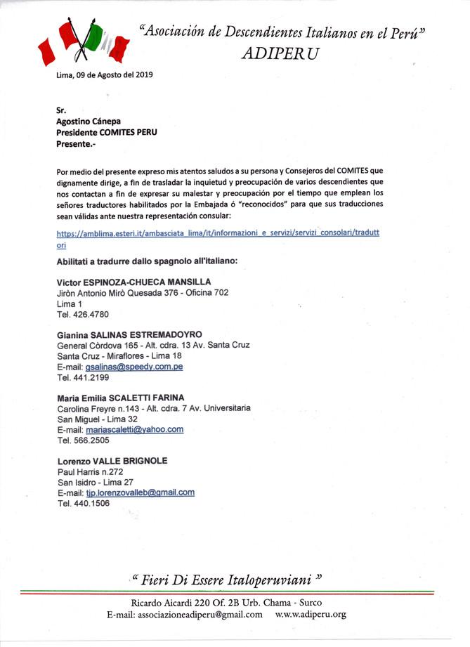 Lettera da parte della Sig.ra Vanessa Mendoza Fuentes, Presidente dell'Associazione dei Discende