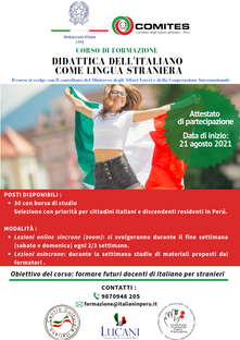 Corso di formazione e professionalizzazione per docenti di italiano in lingua straniera