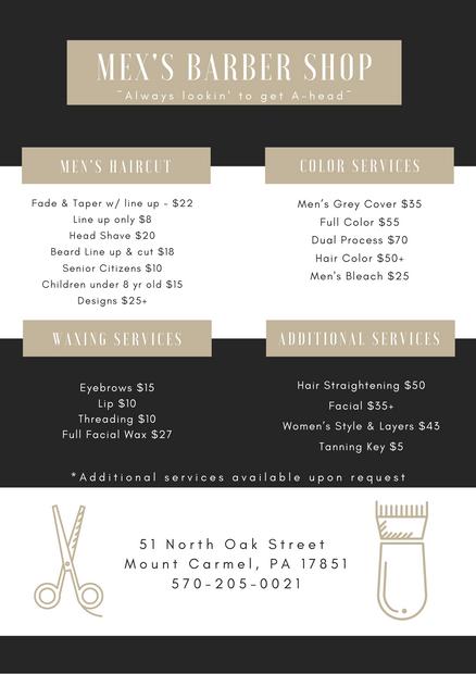 Barbershop Price Sheet