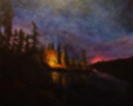 Edge of Night, Landscape series, Jana Jaros, trees, water, fire, camp fire, camping, landscape, night sky, stars