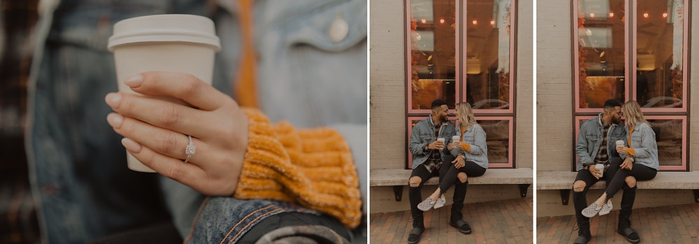 Downtown Georgetown Engagement session with coffee