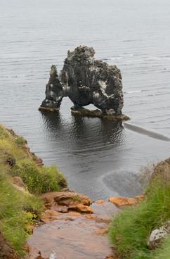 Исландия. Динозавр ловит рыбу.