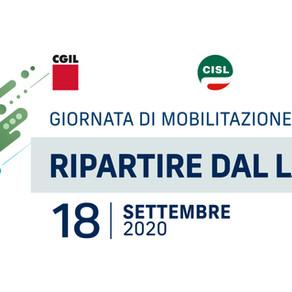 Ripartire dal lavoro: 18 settembre mobilitazione nazionale