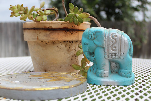 Turquoise and Silver Carnival Chalk Ware Circus Elephant