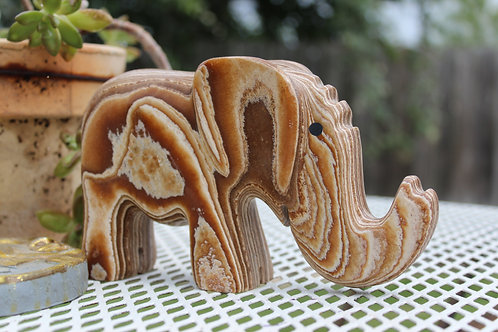 Banded Aragonite Elephant Carving